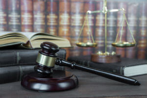 gavel with legal books