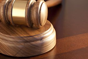 courtroom gavel at a disability benefits hearing